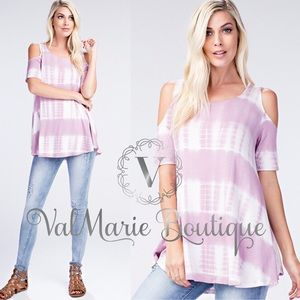 Mauve tie dye cold shoulder top